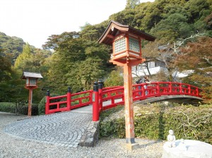 Impressive red bridge of Ryuanji
